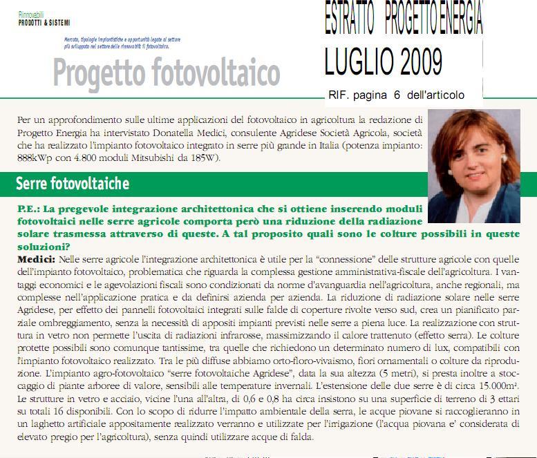 Progetto Energia Fotovoltaico 07-2009
